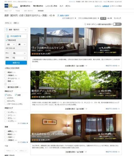 一休ドットコムで軽井沢の最安値ホテルを表示
