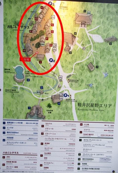 軽井沢エリアの地図