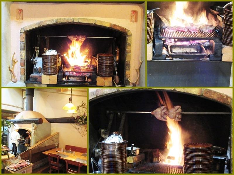 レストラン内の暖炉